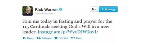 """Rick Warren: """"Únete hoy a mí en ayuno y oración por los 115 cardenales que buscan la voluntad de Dios en un nuevo líder."""""""